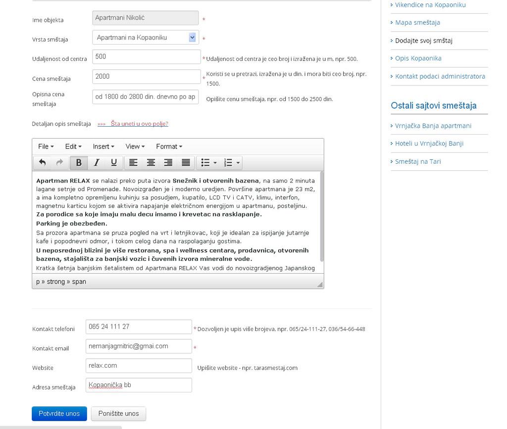 Kopaonik smestaj - postavljanje oglasa - uputstvo slika 1.2