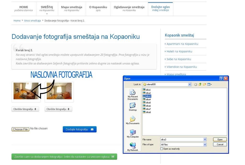 Kopaonik smestaj - postavljanje oglasa - uputstvo slika 2.