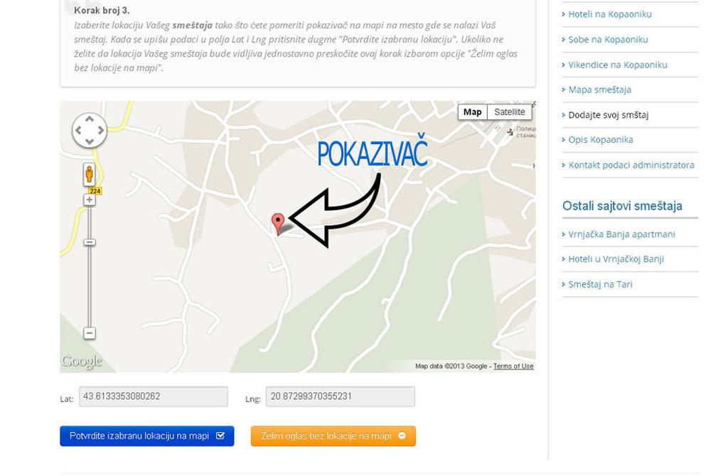Kopaonik smestaj - postavljanje oglasa - uputstvo slika 3.